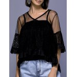 Stylish V-Neck Flare Sleeve See-Through Blouse Set For Women