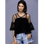 cheap Stylish V-Neck Flare Sleeve See-Through Blouse Set For Women