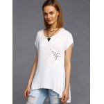 cheap Stylish Round Neck High Low Hem Stud Embellished Long T-Shirt For Women