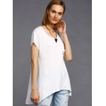 Stylish Round Neck High Low Hem Stud Embellished Long T-Shirt For Women deal