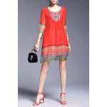 Ethnic Style Printed Beading Dress for sale