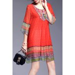Ethnic Style Printed Beading Dress deal