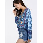 Ethnic Plunging Neckline Print Long Sleeve Tunic For Women deal