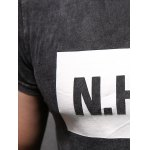 Letter Printing Men's Pullover Round Collar Short Sleeves T-Shirt photo