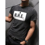 cheap Letter Printing Men's Pullover Round Collar Short Sleeves T-Shirt