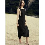 cheap Casual Round Neck Irregular Hem Solid Color Dress For Women