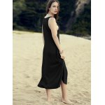 Casual Round Neck Irregular Hem Solid Color Dress For Women deal