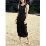 Casual Round Neck Irregular Hem Solid Color Dress For Women