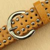 best Stylish Pin Buckle Rivet Perforated Wavy Edge Light Coffee Belt For Women