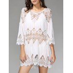 Stylish 3/4 Sleeve Hollow Out Women's Cover Up Dress