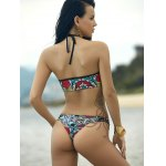 Women's Stylish Hollow Out Halter Print Bikini for sale