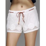 Stylish Drawstring Hollow Out Women's Shorts