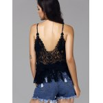 Sweet Spaghetti Strap Hollow Out Fringed Women's Cover Up Top for sale