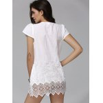 Fashionable Plunging Neck Short Sleeve Crochet Top For Women deal