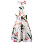 cheap Elegant Halter Floral Print Backless Back Bowknot Ball Gown Dress For Women