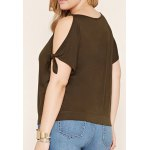 cheap Plus Size Slit Sleeve Loose Fitting Blouse