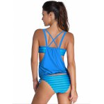 cheap Stylish Halter Neck Hollow Out Striped Women's Tankini Set