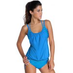Stylish Halter Neck Hollow Out Striped Women's Tankini Set