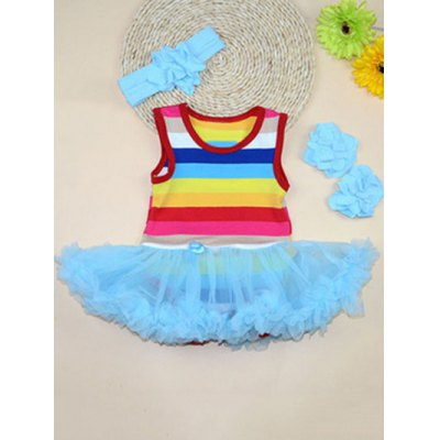 Sweet Scoop Neck Sleeveless Rainbow Color Girl's Ball Gown Dress