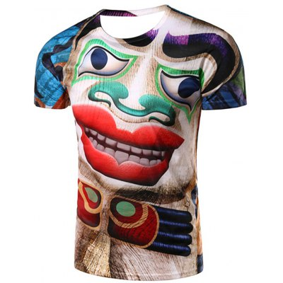 3D Clown Printed Round Neck Short Sleeve T-Shirt For Men
