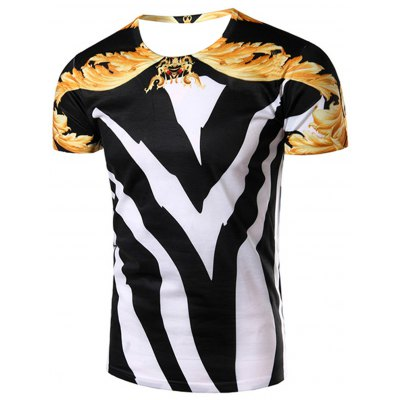3D Color Block Abstract Printed Round Neck Short Sleeve T-Shirt For Men