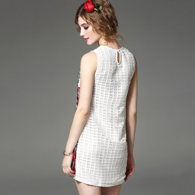 Round Collar Embroidered Beaded Dress