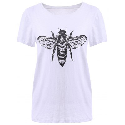 Fashionable Scoop Neck Print T-Shirt For Women