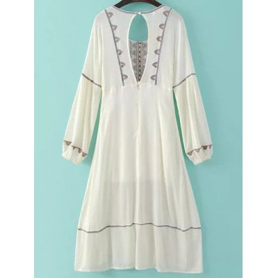 Stylish Scoop Neck Lantern Sleeve Cut Out Embroidery Women's Dress