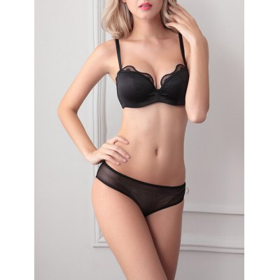 Stylish Push Up Spaghetti Strap Lace Spliced Bra Set For Women