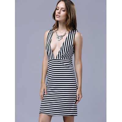 Trendy Plunging Neck Sleeveless Striped Bodycon Dress For Women