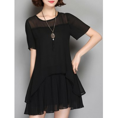 Frilled Sheer Pleated Chiffon  Dress
