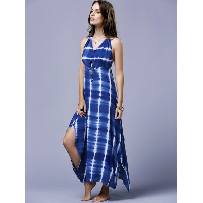 Stylish Halter Striped Backless Women's Maxi Dress