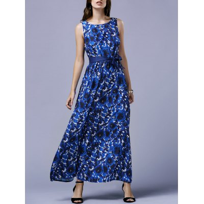 Elegant Blue Rose Print V-Back Women's Maxi Dress