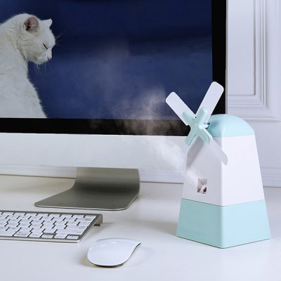 Mini USB Mist Diffuser Windmill Shape Fan Anion Humidifier For Office Home