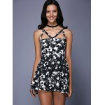 cheap Fashionable Sleeveless Floral Print Cut Out Slimming Women's Dress