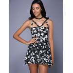 Fashionable Sleeveless Floral Print Cut Out Slimming Women's Dress deal