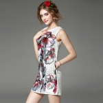 Round Collar Embroidered Beaded Dress photo