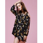 Stylish V Neck Long Sleeve Hollow Floral Women's Dress for sale