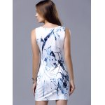 Stylish Round Neck Sleeveless Printed Packet Buttock Women's Dress for sale