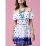 Fashion Off The Shoulder Printed Waisted Mini Dress For Women