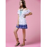 Fashion Off The Shoulder Printed Waisted Mini Dress For Women photo