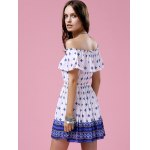 best Fashion Off The Shoulder Printed Waisted Mini Dress For Women