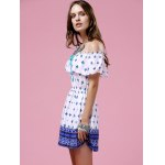 Fashion Off The Shoulder Printed Waisted Mini Dress For Women for sale