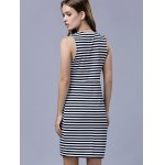 Trendy Plunging Neck Sleeveless Striped Bodycon Dress For Women deal
