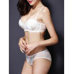 Fashionable Push Up Spaghetti Strap Lace Bra Set For Women deal