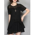 Casual Round Neck Short Sleeve Frilled Sheer Asymmetric Women's  Dress