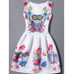 Sleeveless Owl Floral Fit and  Flare Dress