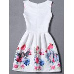 cheap Sleeveless Owl Floral Fit and  Flare Dress