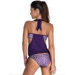 cheap Alluring Halter Print Hollow Out Tankini Set For Women