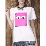 Buy Women's Fashionable Monster Eyes Print Round Neck T-Shirt